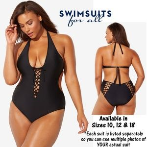 NWT Ashley Graham Sexy Lace-Up Halter Swimsuit